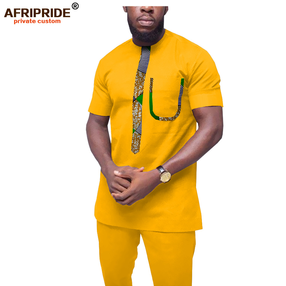 2019 African Clothing For Men Tracksuit Dashiki Shirts And Print Pants Traditional Set Outfits Wear AFRIPRIDE A1916052