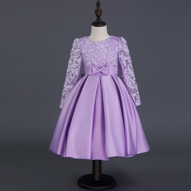 Children's Wedding Veil Dress Lace Princess Red Puffy Princess Dress Young Children Skirt Costume Bow Dress