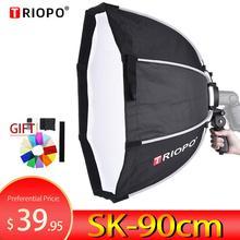 Восьмиугольный зонт для софтбокса TRIOPO, 90 см, софтбокс с ручкой для Godox, Вспышка speedlite, аксессуары для фотостудии