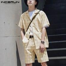 2021 mężczyźni Plaid zestawy oddychająca Streetwear Lapel koszulka z krótkim rękawkiem wysokie do talii elastyczne szorty Casual męskie garnitury 2 sztuk INCERUN 5XL