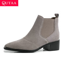 QUTAA 2020 Kuh Wildleder Fashion Square High Ferse Slip auf Casual Stiefeletten Spitz Herbst Winter Concise Frauen Schuhe size34-39(China)