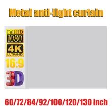 Rideau de Projection Anti lumière, rideau Simple, HD 4K, 16:9, 60, 72, 84, 92, 100, 120, 130 pouces, pour lextérieur, la maison, KTV