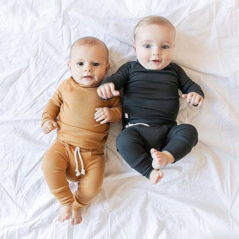 0-24M Baby Sleepwear Newborn Toddler Boy Girl Solid Color Pajamas Set Cotton Sleepwear Nightwear Casual Clothes Outfit Home Wear
