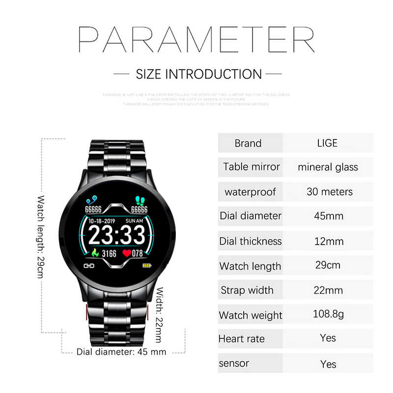 Lige 2020 スマート腕時計メンズ心拍数血圧情報リマインダースポーツ防水スマートウォッチスマートバンドアンドロイド ios