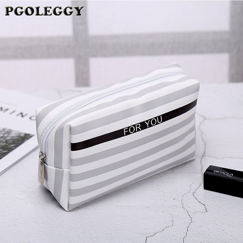 PGOLEGGY New Travel Organizer PU Cosmetic Bag Korean Small Women Bag Make Up Case Toiletry Bags Beauty Storage Wash Bag Handbag