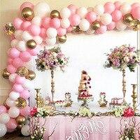 セレモニー用ラテックスバルーンアーチ,118個,ピンクホワイト,ゴールド,出生前,結婚式,子供用,誕生日パーティーの装飾