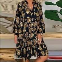 Винтажное женское летнее платье 5xl, женское свободное платье с принтом, платья с рукавом три четверти и оборками, Пляжное мини-платье, сарафа...