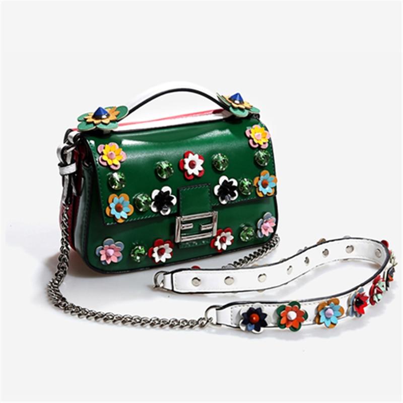 Femmes sacs à bandoulière fleurs Patchwork Totes rouge Mini diamant sacs 2019 nouveau luxe Messenger sacs cristal sacs filles petit sac à main