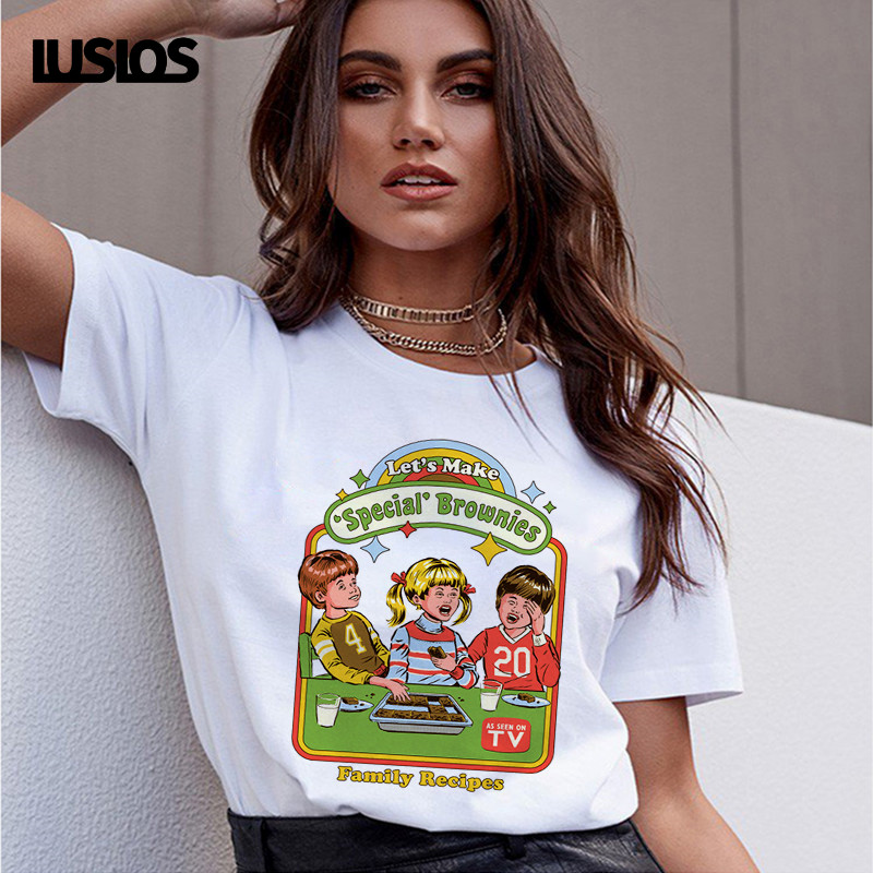 Vintage T Shirt Women Graphic T Shirts Let's Make Special Brownies Funny T Shirts Oversize Female Women Casual Shirts Ladies Top