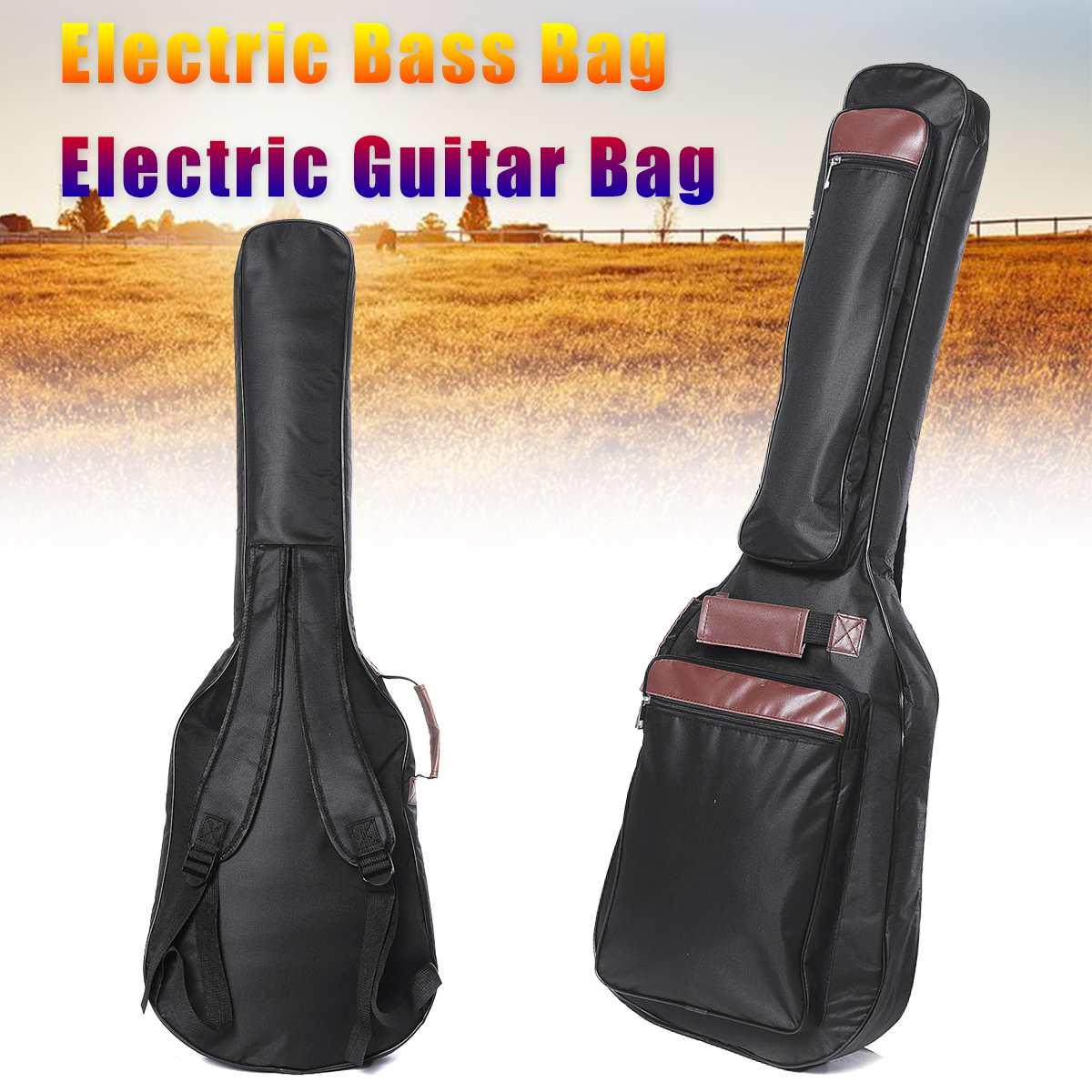 Guitar Backpack Double Shoulder Straps Pockets Waterproof Electric Guitar Bag Electric Bass Bag 8mm Thicken Padded Gig Bag Case