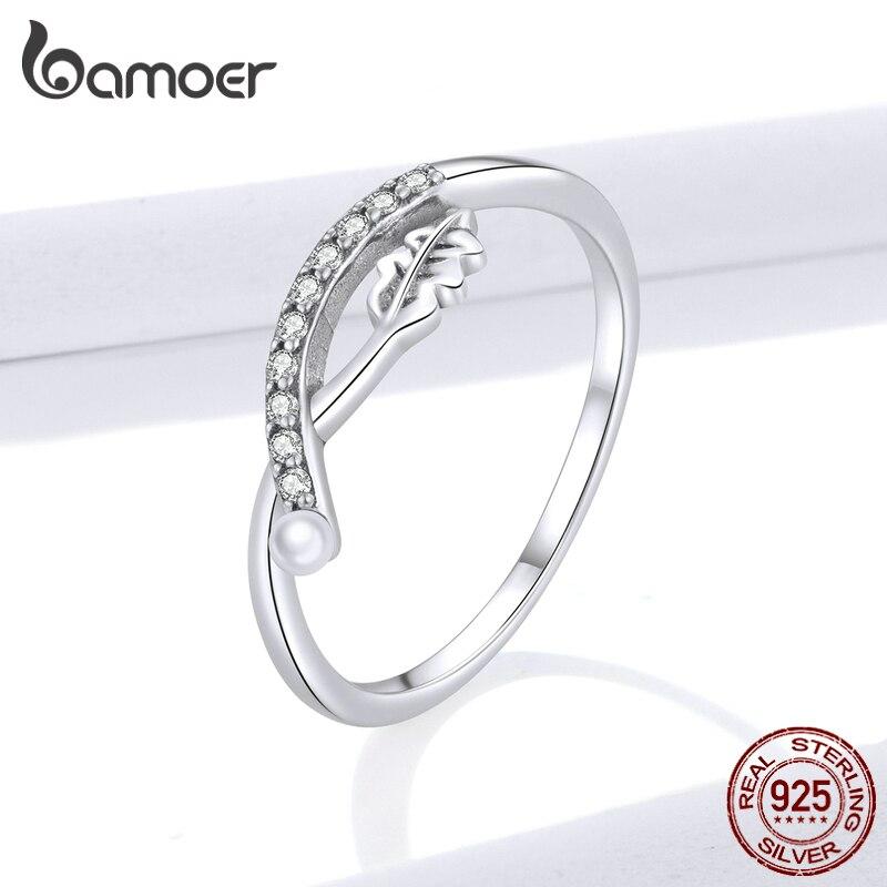 BAMOER 925 Sterling Silver Vintage Leaf Elegance, Clear CZ Flower Finger Rings for Women Fine Jewelry New 2020 BSR111