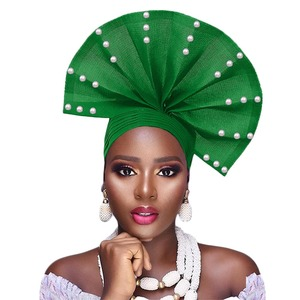 Image 1 - Free shippoing Stoned aso oke headtie headwrap turban africain gele headtie already made