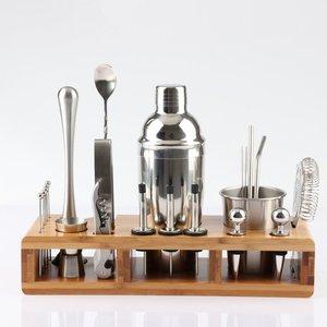 Kit de Barware de ensemble de secoueur de Cocktail d'acier inoxydable de 23 pièces avec le support en bois carré pour des outils de barre de partie de boisson de barman