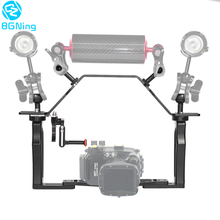 BGNing אלומיניום מתחת למים SLR מצלמה Stand תמיכה מחזיק כפול כף יד מגש סוגר עם למעלה ידית תריס טריגר הר ערכה