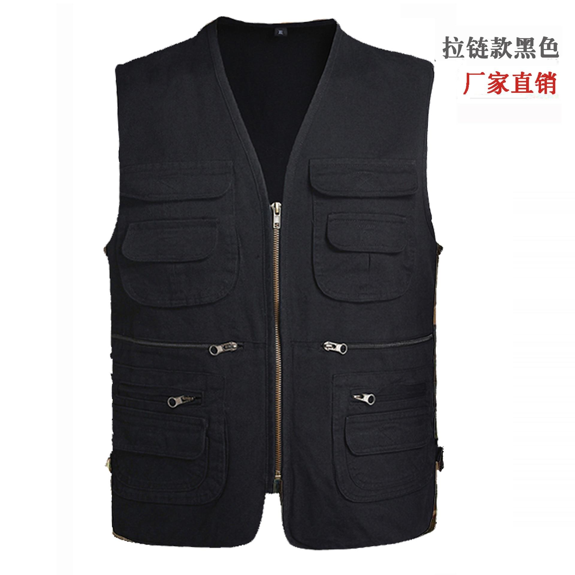 2020 Men's Spring Multi-pockets Pure Cotton Vest Casual V-neck Cotton Cloth Vest