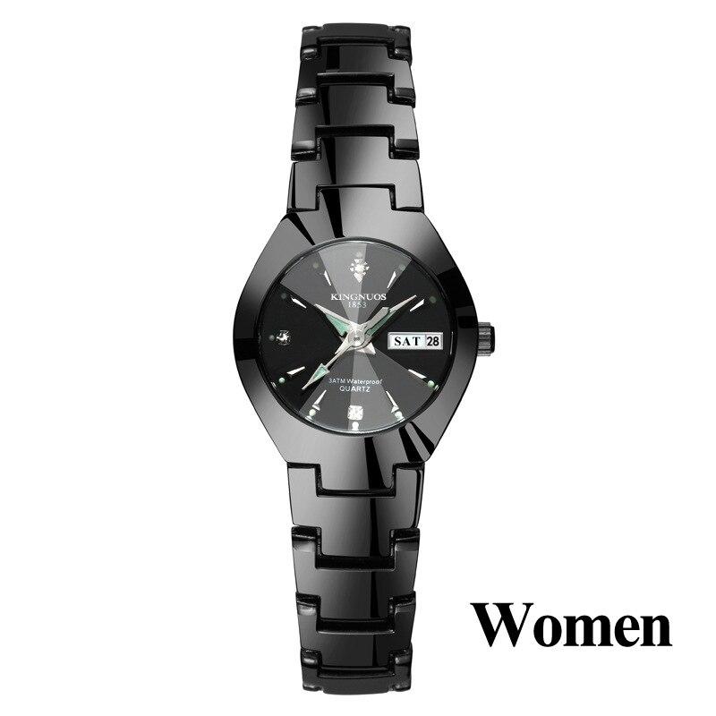Часы для влюбленных Роскошные Кварцевые наручные часы для мужчин и женщин Hodinky Dual Calender Week steel Saat Reloj Mujer Hombre парные часы - Цвет: Women Black Black