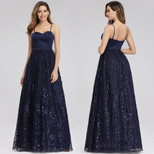 Elegant Navy Blue Evening Dresses Long Queen Abby A-Line Sweetheart Spaghetti Straps Sequined Formal Evening Gowns For Party(China)