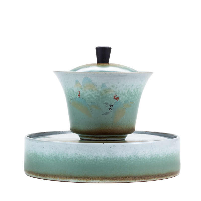 Sancai Terrine Pot Lager Set Antieke Blauw-Witte Thee Hittebestendige Keramische Kung Fu Thee Cup thuis Sopera De Ceramica Gaiwan