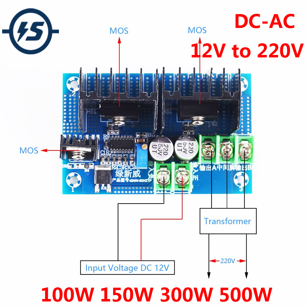 DC-AC Inverter Step UP Power Supply <font><b>Module</b></font> Boost <font><b>12V</b></font> 24V <font><b>to</b></font> 110V <font><b>220V</b></font> Voltage Converter 100W 150W 300W 500W image