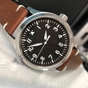 Image 1 - 42mm mens אוטומטי שעון לבן סימן עור עצמי Winding ספורט זכר שעון ספיר חיוג סטרילי SS מכאני שעוני יד
