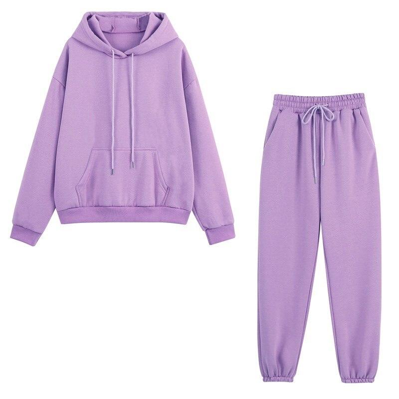 Sonbahar kadın Hoodies eşofman moda polar kapüşonlu Sweatshirt iki adet Set rahat uzun kollu katı Hoodie spor pantolonları takım elbise