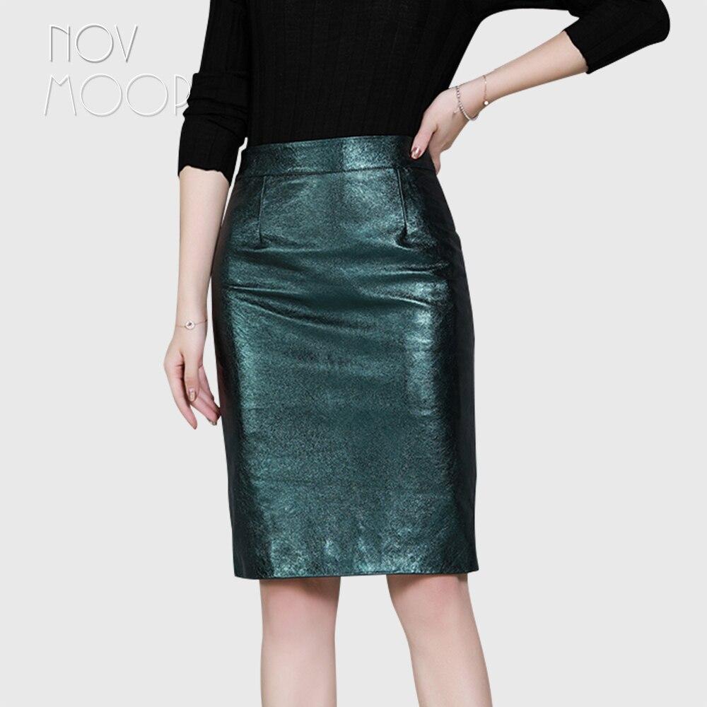 Novmoop/Женская юбка из натуральной овечьей кожи синего цвета с металлическим оттенком; Праздничная юбка в форме H; Falda de cuero de negocios LT3203