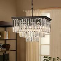 Modern Square Crystal Chandeliers Light Fixture K9 Crystal Drop Lamp Suspension Lamp for Hotel living room restaurant lamp