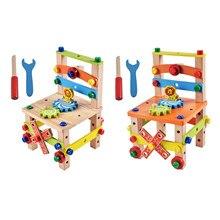 Montessori brinquedos diy cadeira de montagem brinquedos de madeira para crianças montessori brinquedo educativo pré-escolar brinquedos sensoriais