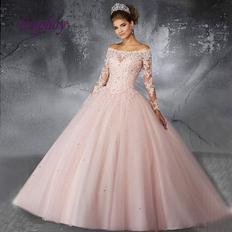 Pink Long Sleeve Quinceanera Dresses Ball Gown Tulle Plus Size 15 Year Old Sixteen Sweet 16 Dress Prom Dresses Debutante