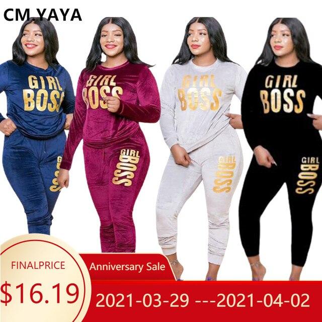 YAYA-Conjunto de chándal de terciopelo con letras estampadas para mujer, Conjunto de sudadera, Top, pantalones para correr, conjunto de dos piezas de Fitness de talla grande, XL-5XL CM 1