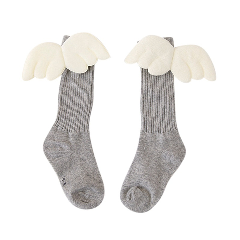 Baby Girl Cotton Long Socks Cute Socks Cartoon Wings Design Cotton Long Socks Party Infant Children Soft Crib Leg Warmer