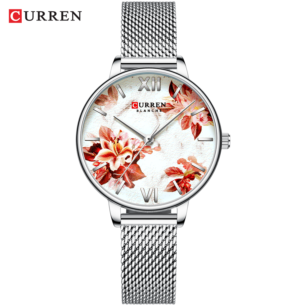 CURREN Beautiful Flower Design Watches Women Fashion Casual Leather Wristwatch Ladies Watch Female Clock Women's Quartz Watch 9