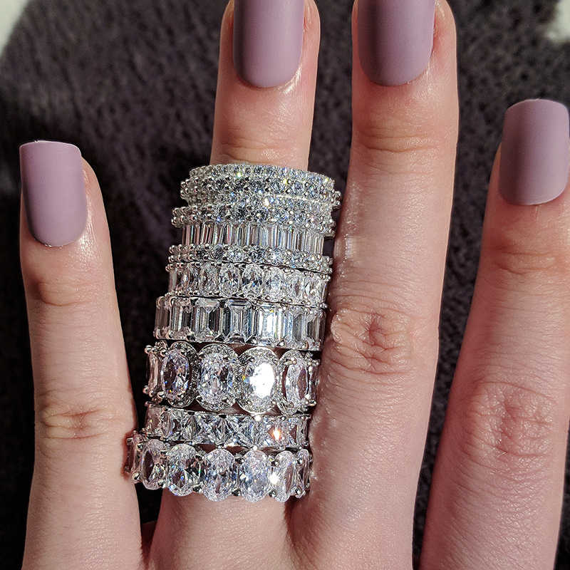 Lüks 925 ayar gümüş düğün band aşk yüzüğü kadınlar için büyük hediye bayanlar için aşk toptan sürü toplu takı R4577