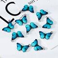 10 stücke Blau Emaille Nette Schmetterling Charms Anhänger DIY Halskette Ohrringe Schmuck Kennzeichnung Schmuck Zubehör
