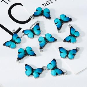 10pcs Blue Enamel Cute Butterfly Charms Pendants DIY Necklace Earrings Jewelry Marking Jewelry Accessories