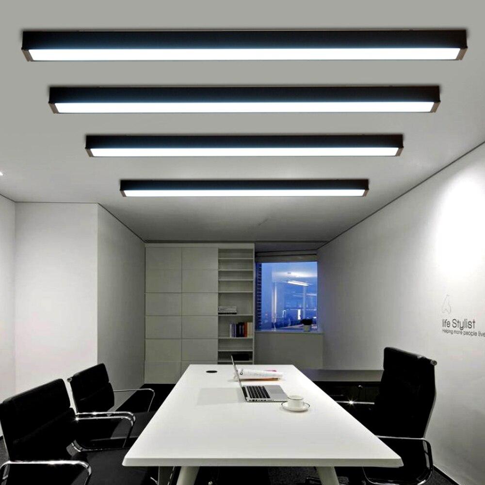 Barra larga LED moderna iluminación comercial Simple lámpara de techo de oficina lámparas de suspensión Rectangular lámpara fluorescente cuadrada