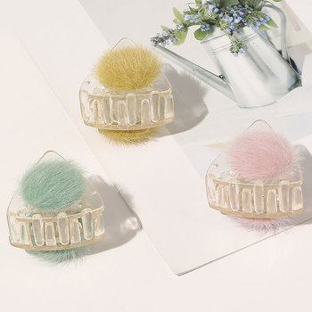 Sweet Furry Cat Ears Plastic Mini Hair Claws Crab Women Simple Hairball Transparent Hairpins Ponytail Hair Clip Hair Accessories image