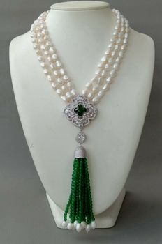 3 Strands White Pearl Necklace CZ pave flower Green Jade Pendant tassel