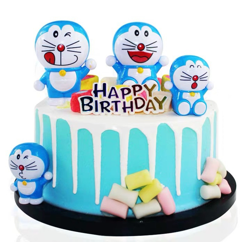 Astonishing 4Pcs Set Japanese Anime Doraemon Action Figures Car Birthday Cake Personalised Birthday Cards Veneteletsinfo