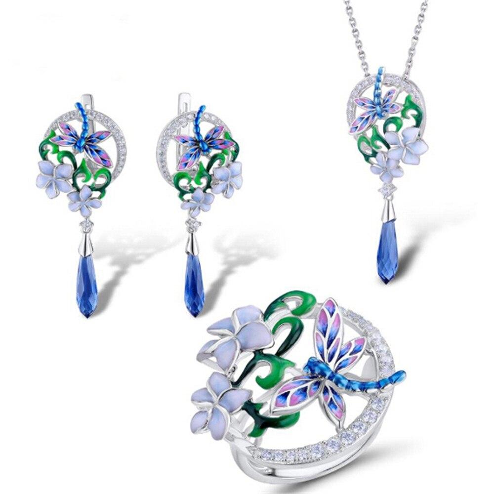 925 en argent Sterling ensemble de bijoux libellule fleur anneau boucles d'oreilles pendentif colliers ensemble de mode bijoux à la main émail meilleur cadeau