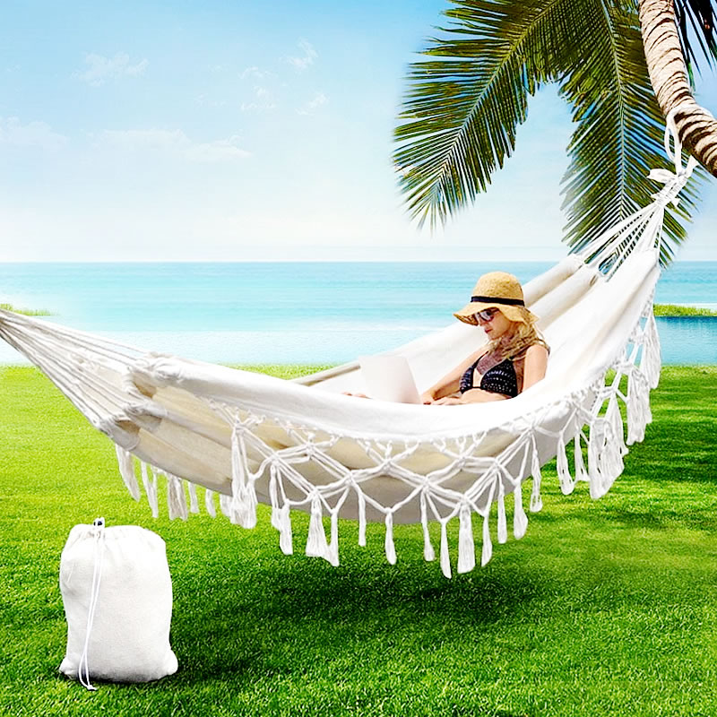 Double Hammock Rollover Prevention Camping Canvas Fabric Hammock Hanging Swing Bed For Patio Travel Hiking
