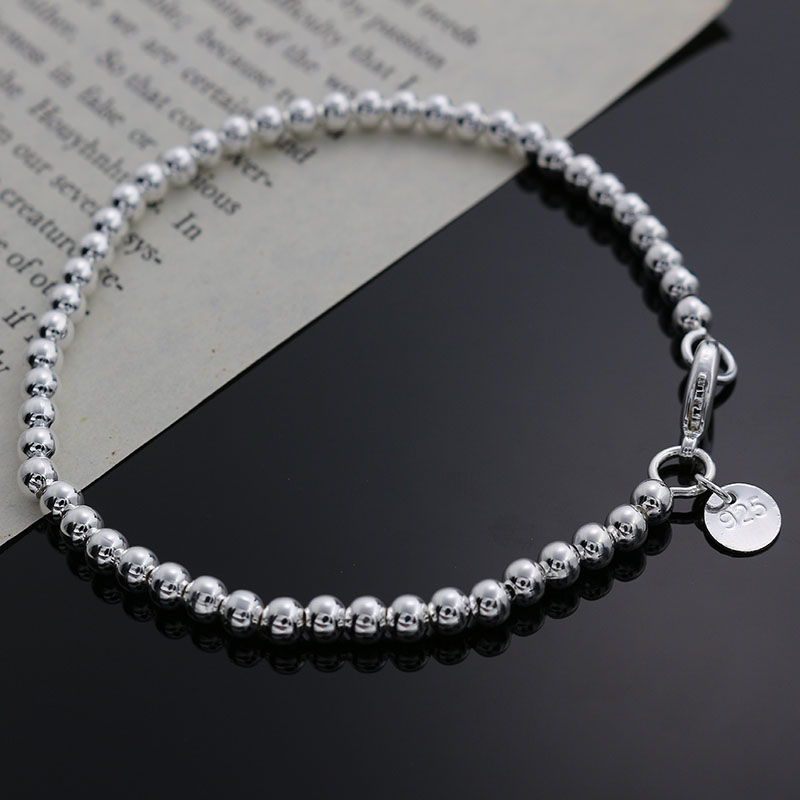 Beautiful fashion Elegant Gold color silver color 4MM beads chain women Letter cute Bracelet high quality Gorgeous jewelry H198