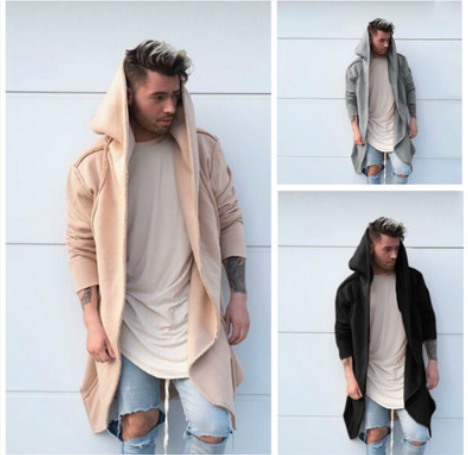 ZOGAA Men Fashion Long Hooded Coat Adult Boys Slim Trench Casual Long Sleeve Hoodies Outwear Male Solid Long Overcoat