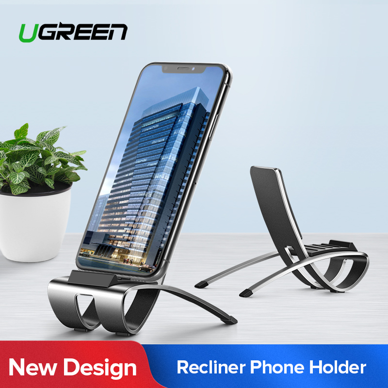 Ugreen Mobile Phone Holder Stand Aluminium Metal Recliner Lazy Cell Phone Holder For IPhone Samsung Galaxy S10 Desk Phone Stand
