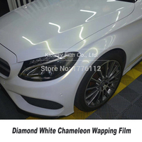 Highest quality glossy diamonds white Chameleon Wrapping film vinyl wrap quality Warranty ow initial tack adhesive 5m/10m/18m