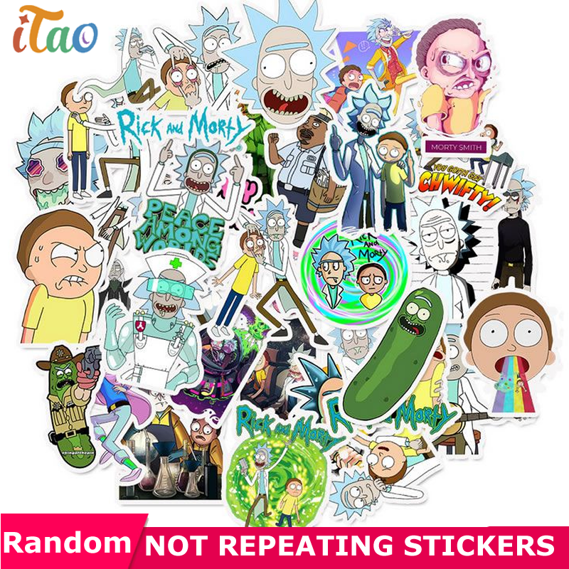 10/20/30/40/50pcs Pack Cartoon Rick And Morty Sticker Waterproof PVC Luggage Skateboard Guitar Snowboard Laptop Kid Toy Stickers