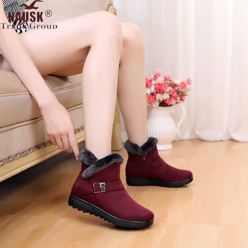 Kış Kadın yarım çizmeler Yeni Moda Akın Kama Platformu Kış sıcak Kırmızı Siyah Kar Botları Ayakkabı Kadın Artı Boyutu 40 41