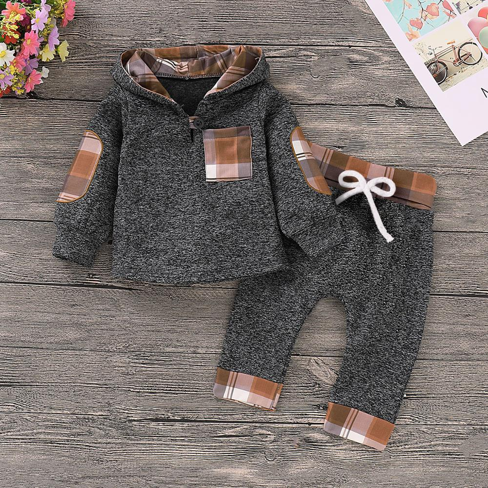 Baby Boys Clothes Fashion Hooded Top Pants Newborn Bebes Outfits 2pcs Infant Kids Sport Suits Cotton Toddler Tracksuits 0-18M