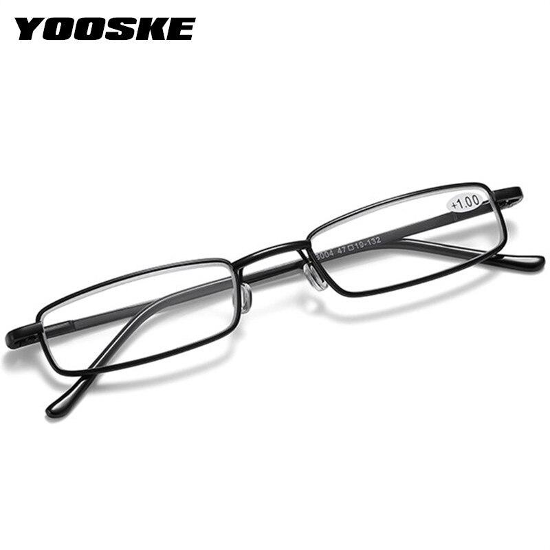 YOOSKE + 1.5 2.0 2.5 Occhiali Da Lettura Donna Uomo Ultralight Portatile Mini Ipermetropia Occhiali In Metallo Presbiopia con diottrie più 2