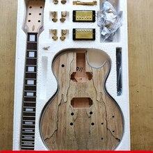 DIY LP стиль электрогитара Spalted кленовый шпон+ африканское красное дерево Okoume корпус шеи палисандр гриф набор гитары предпродажа